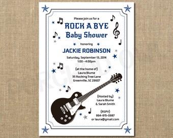 Rockstar Guitar Baby Shower Invitation - Digital File