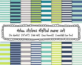 boys digital paper stripes, green turquoise navy blue photography backgrounds, boys baby shower, instant download - 542