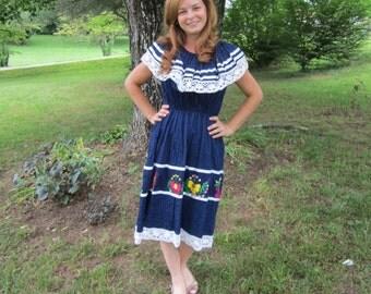Vintage Blue Mexican Dress / Patio Dress / Souvenir Dress / Latin Salsa Dress