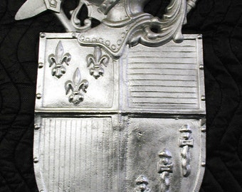 Hooded Knight with Fleur-Di-Lis,Plaque,Shield, Crest,Coat of Arms,Cast Aluminum