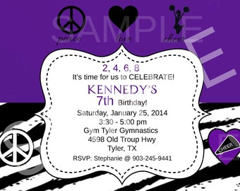 Cheerleading Birthday Invitation