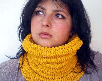 Mostard Yellow Wave   Cowl Super Soft  Neckwarmer Women / Men Chunky Mixed Cotton  Cowl NEW