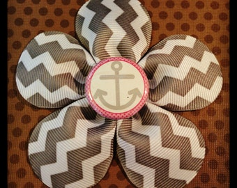 Gray Chevron Flower Hairbow with Anchor...Girls Hairbows...Baby/Infant Hairbows...Hairclips...Character Clips