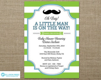Little Man Baby Shower invitation - Little Man Invitation - Mustache Invitation - Mustache Baby Shower Invitation - Mustache Printable - Boy