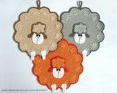 053 Sheep decor, potholder or small pillow - Amigurumi Crochet Pattern - PDF file by Zabelina Etsy