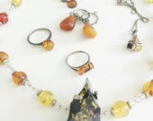 Vintage Amber Sterling Jewelry Lot, Russian Baltic Amber Necklace, Honey Amber Rings, Raw Amber Earrings, honey Amber, green Amber Brooch