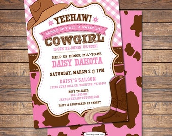 Cowgirl Baby Shower Invitation, Cowgirl Baby Shower, Cowgirl Baby Shower Invites, Printable Baby Shower Invitation Girl