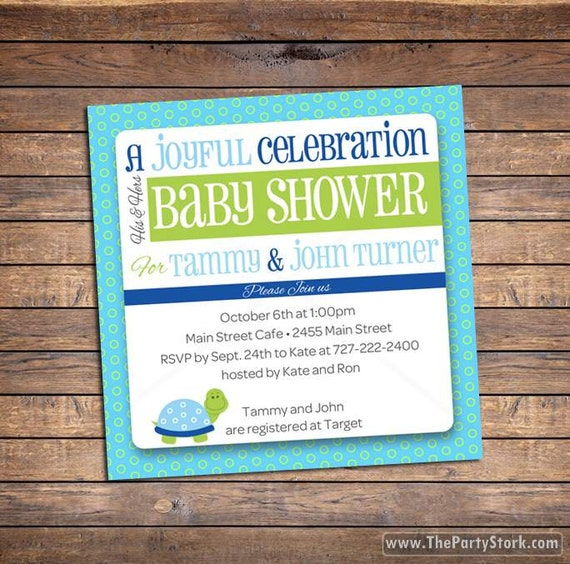 TURTLE Baby Shower Invitation, Printable Invite, Boy or Girl, Sea Turtle Invite, Birthday, Gender Neutral, More Party Invitations Available