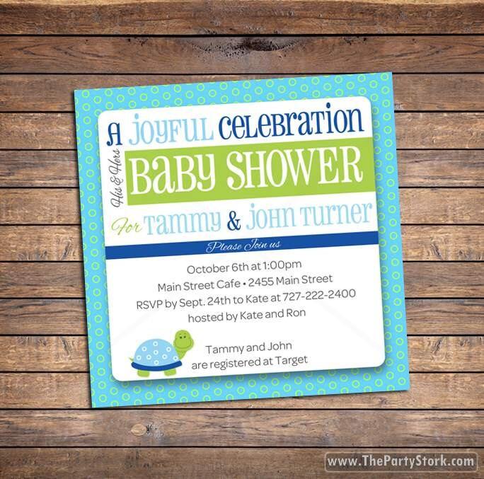 turtle baby shower invitation printable invite boy or girl