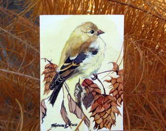 ACEO Limited Edition 5/25- ~As November Ends~ Bird art print of an original ACEO watercolor by Anna Lee,home deco idea, Gift for bird lovers