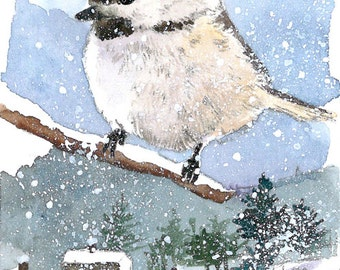 ACEO Limited Edition 6/25- Snowy day view,  Chickadee Art print of an ORIGINAL ACEO watercolor painting, Gift for bird lovers & housewarming