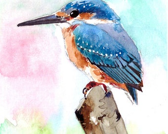 ACEO Limited Edition 6/25- Little kingfisher perching, Bird Art print of an ORIGINAL ACEO watercolor painting, Gift for bird lovers