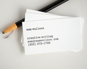 Typewriter Business Cards - Editor Style - Letterpress Black and White