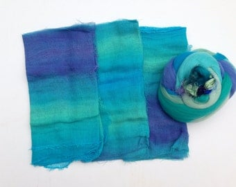 Hand Dyed Lightweight Summer Scarf Wet Felting Kit Copy