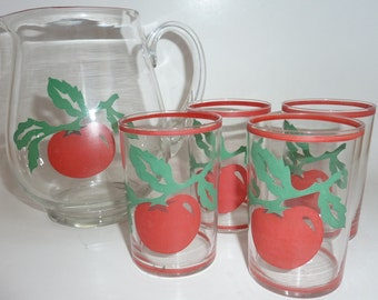 vintage juice set with tomato's  on them