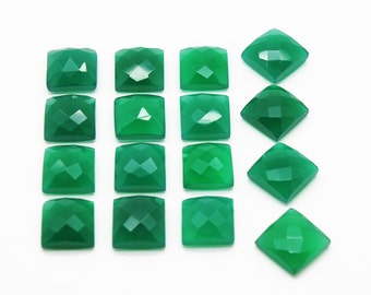 GCF-1026 - Green Onyx Faceted Cabochon - Square 12x12mm - Gemstone Cabochon - AA Quality - 1 Pc