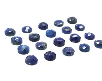 GCF-1079 - Lapis Lazuli Cabochon -  Round 6mm - Faceted Cabochon - Gemstone Cabochon - Package Of 4 Pcs