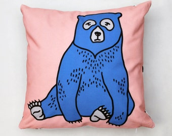 Blue Bear Cushion Cover