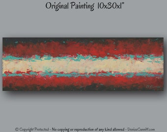 Red and teal home decor, Abstract painting, Turquoise and red, Large wall art, Office, Aqua, Master bedroom, Canvas artwork wide, Southwest