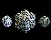 Elegant Brooch & Earrings Silver Filigree Crown Trifari Signed Collectibles Designer Vintage Jewelry Gifts for Her Birthday Gift for Wife