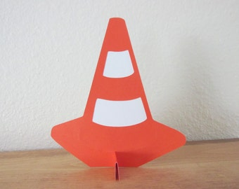 Traffic cone table decoration, double sided traffic cone