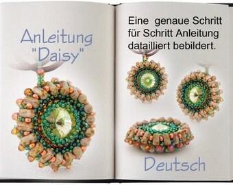 Jewelry tutorial .... Daisy... Anleitung in Deutsch... Sehr schöner Anhänger mit 2 Loch Perlen