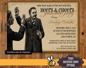 College Graduation Invitation - Beers and Cheers - Gentlemen, Raise Your Glasses to the New Grad beer invitation - Item 0153
