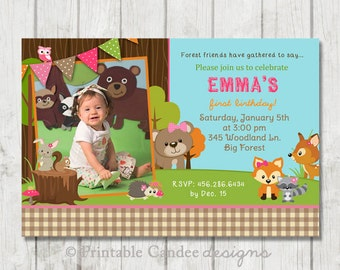 Pink Forest Friends Woodland Birthday Invitation - DIY Custom Printable