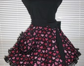 Classy Little Black Apron with Red Hearts Circular Skirt