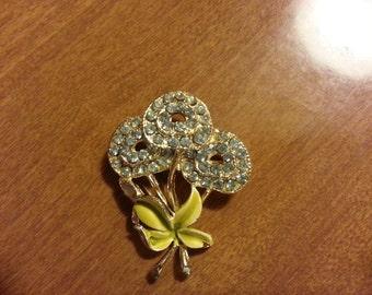 Gorgeous Floral Rhinestone Vintage Pin