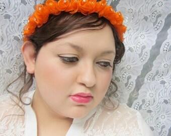 Orange flower, flower headband, rose headband, holiday headband, wedding headband, gypsy headband, hair wreath, hair garland, birthday crown