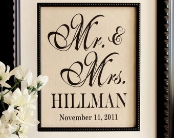 New- Cotton Anniversary Gift- Mr. & Mrs. Art, Perfect Gift for Weddings, Engagements, Showers, Announcement, Print or Sign