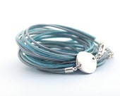Metallic Blue Wrap Bracelet, Metallic Blue Bracelet, Bohemian Jewelry, Minimalist Jewelry, gift for her, christmas gift, boho chic