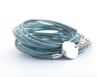 Metallic Blue Wrap Bracelet, Metallic Blue Bracelet, Bohemian Jewelry, Minimalist Jewelry, Christmas gift for her, boho chic