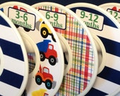 6 Custom Baby Closet Dividers Big Trucks Construction Dump Tow Dozier Truck Preppy Plaid CD586 Baby Boy Nursery Shower Gift  Organizers