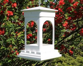 Outdoor vinyl bird feeder tray feeder PVC decorative low maintenance Bridgeport EZ Clean hanging Bird feeder -Arches style- Made in the USA
