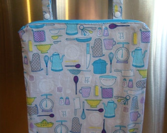 """Made to Order: Kitchen Wet Bag 12"""" X 15"""", zippered with oven bar handles, pots and pans print."""