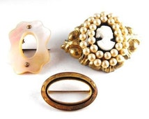 Antique Jewelry LOT Three Costume Jewelry Pins 1 Cameo 1 Mother of Pearl 1 Gold Circle