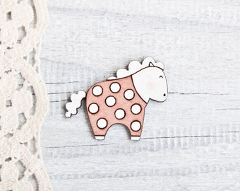 Horse Brooch Pink Polka Dots Pins Laser Cut Wood Pin Wooden Horse Pins Animal Pink Brooch Kids Jewelry Cute Girlfriend Gift Mom Gift