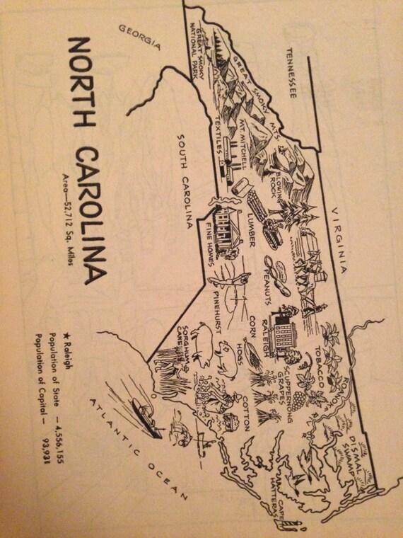 North Carolina Map Wall Decor  Vintage Map Print  By