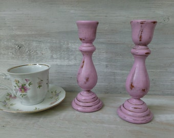 Pink Painted Candlesticks