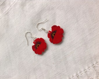 Red poppies earrings