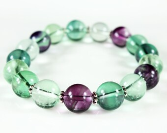 Fluorite stretch statement bracelet accented with Silver Pewter, fashion gemstone bracelet, green-purple chunky bracelet, gift for her