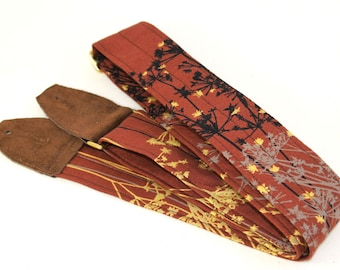 Guitar Strap - Mahogany Brush Classic Style with Chocolate Brown Leather and Brass Hardware