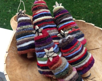 Felted wool scrap tree