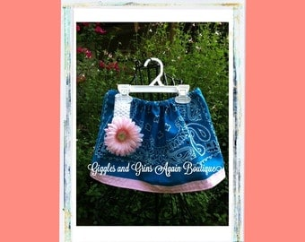Blue and Pink Bandana Skirt for all the Little Cowgirls - All Colors and  6 to 24 months, 2 to 6 years