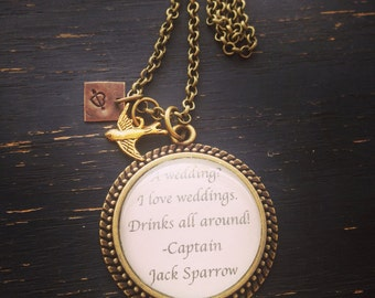 Jack sparrow wedding quote necklace