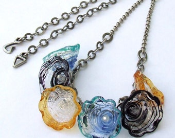 Handmade Lampwork Necklace, Amber, Black and Blue-Green Flower caps Glass Necklace, Unique Gift, Made to Order