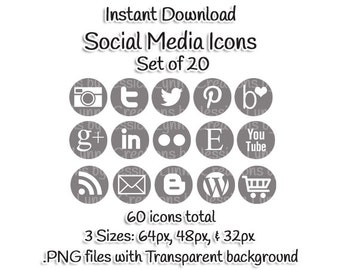 Dark Gray Social Media Icons - Set of 20 - 60 Icons total
