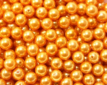 50 pcs Acrylic Pearls - Apricot Golden Orange 8mm